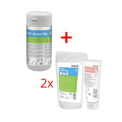 Chusteczki dezynfekcyjne Incidin Alcohol box 90 szt. + 2 x Incidin Alcohol uzupełnienie 90 szt. + krem Silonda Lipid 100 ml Ecolab