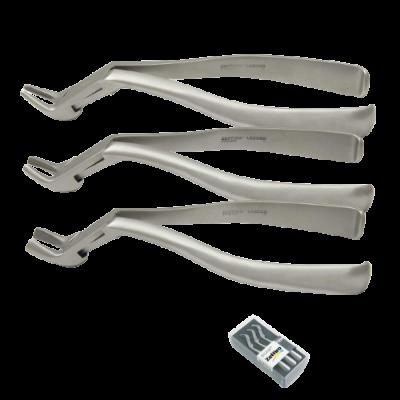 Kleszcze ekstrakcyjne Meissner 1+2+3 ZKS001 (komplet:ZFS300+ZFS301+ZFS302) gładki uchwyt Zeffiro